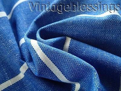 Beautiful Blue Stripe ANTIQUE French Linen Fabric Piece 39""