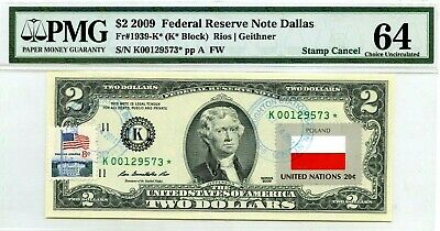 Money Us $2 Dollars 2009 Federal Reserve Star Note Dallas Flag Of Poland Unc