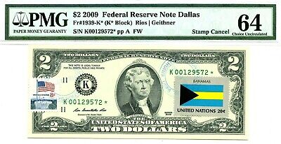 Money Us $2 Dollars Federal Reserve Star Note 2009 Pmg  Flag Bahamas Ch Unc