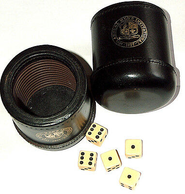 2 Lot Vintage 1977 Thick Brown LEATHER Stitched Ribbed Lined Game Cups W/ 5 Dice