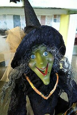 """HALLOWEEN WITCH SHELF SITTER DOLL, """"WITCH CRAFTER"""", 30"""", Green scary face"""