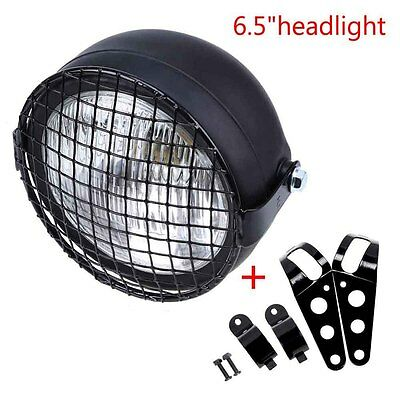"""6.5"""" 35W Retro Motorcycle Headlight Grill Side Mount Cover W Bracket Cafe Racer"""