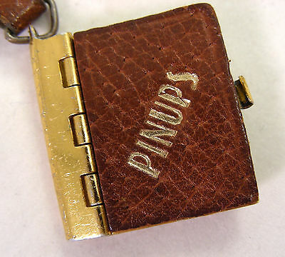 Antique Keychain Pinup Photo Album Leather Vintage 40's Starlets Glamour Photos