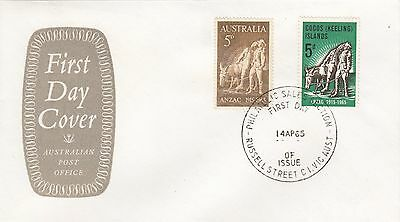 Stamp Cocos Island 5d ANZAC & Australian 5d issue on grey P.O emblem cachet FDC