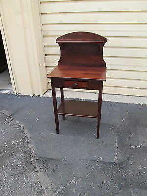 53925 Pine Stand Table With Drawer And Shelf