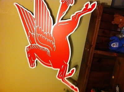 """PEGASUS MOBILE OIL VINTAGE ANTIQUE LOOK CUT OUT SIGN 44x32"""" UV PROTECTED"""