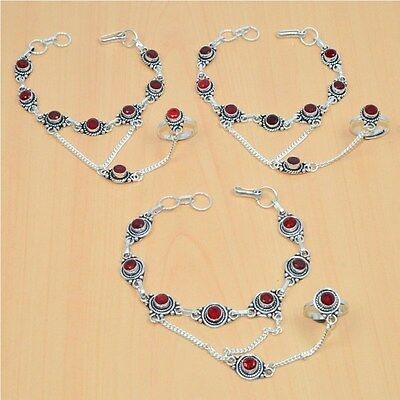 Wholesale 3Pc 925 Silver Plated Red Ruby Bracelet-Ring Bridal Hathphoollot