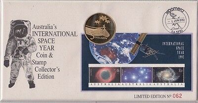 Coin Australia $5 space & stamp mini sheet on limited edition PNC sovenir cover