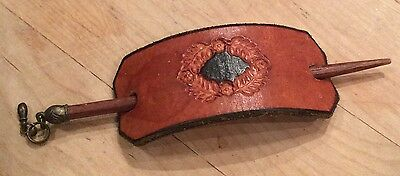 Vintage Tooled Leather Hair Barrette Patch Bun Holder With Stick & Charm