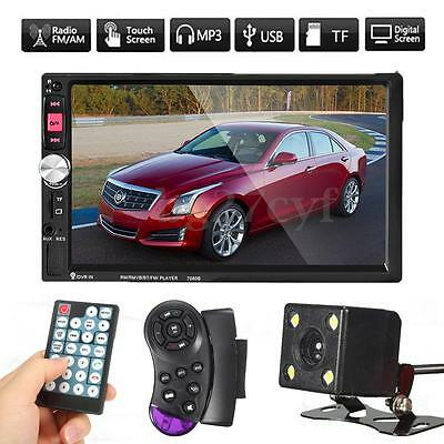 7'' 2DIN Touch Screen Stereo Car MP5 Player Bluetooth In-Dash Unit Radio +Camara