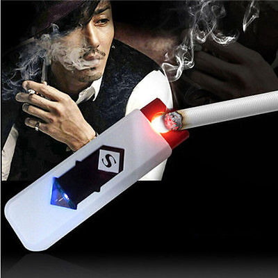 USB Electric Battery Rechargeable Flameless Collectible Lighter Cigarette8YO