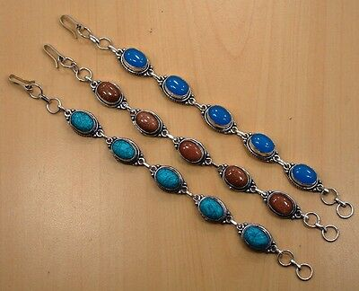 Lot 3Pc 925 Silver Plated Turquoise & Mix Stone Bracelet Jewelry