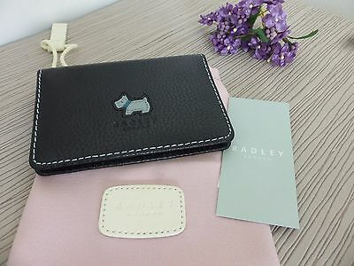 BNWT Radley 'Small Time' Black Fold Over Leather ID Wallet Travel Card Holder