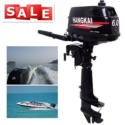 2-Stroke 6HP 4.4KW Outboard Short Shaft Motor Manual tilt  Fishing Boat Engine