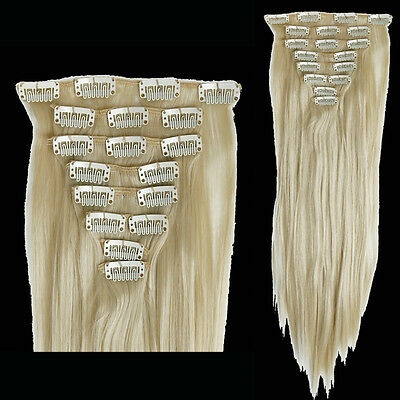 """26"""" Bleach blonde Real Long Straight 8 Piece Full Head Clip In Hair Extensions"""