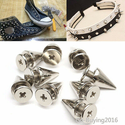1000Pcs Silver Metal Studs Rivet Bullet Spike Cone Screw For Leather Craft DIY
