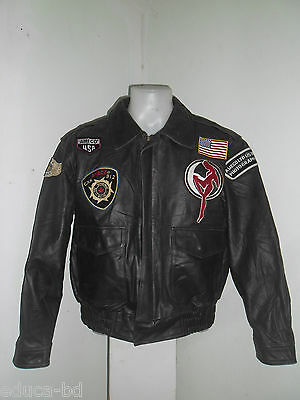 90's BLOUSON CUIR MARRON  FLIGHT JACKET LEATHER CLOTHING PATCHED AMECO SUPERBE