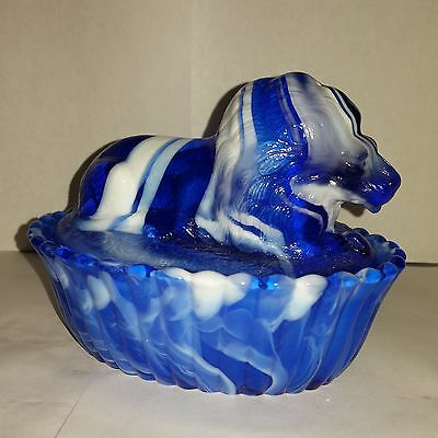 "Mosser Glass for Rosso Royal Blue Slag 5"" Lion 1991 - Westmoreland Mold"