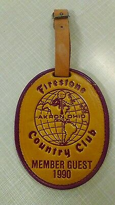 vtg - Leather Golf Bag Tag Firestone Country Club Akron OH Member Guest 1990