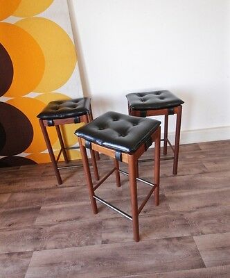 Set of 3 of Authentic Parker Black Padded Teak Stools, Retro Vintage Chairs