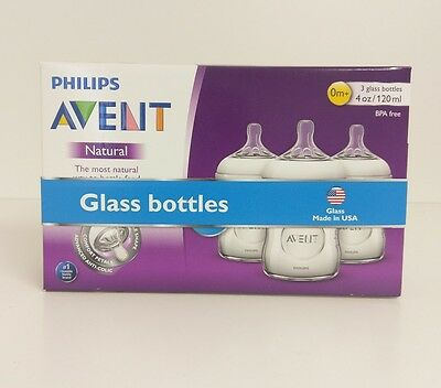 Philips Avent Natural Glass Baby Bottles 4oz 0+ Months (3 Pack)  (1-1)
