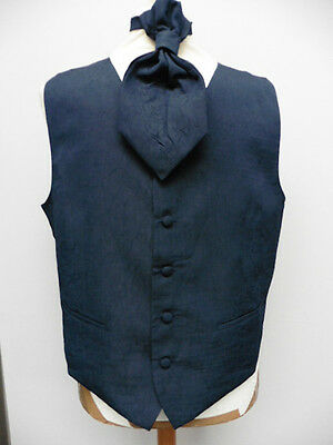 New Style Mens Navy Textured Waistcoat & Cravatte Size Xl 45'' May6/w
