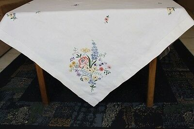 Vintage Cream Linen Embroidered TABLECLOTH 120cm square #117
