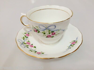 �� Colclough Duo Tea Cup & Saucer 6808 Pink Rose Blue Ribbons B Grade