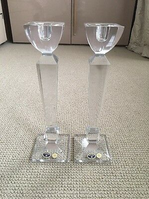 Bohemia 24% Lead Crystal Square Cut Candle Holders Czech Republic New