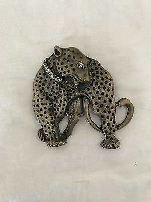 Large Vintage Metal Belt Buckle - Leopard With Diamanté Collar And Eye