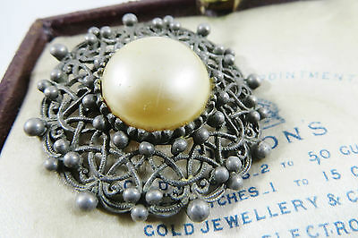 VINTAGE Antique Jewellery NOUVEAU Pewter Faux Pearl  Large Shawl Pin BROOCH