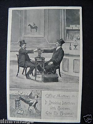 Unusual C Weird Postcard Office Motto Drinking Humour Alcohol  Top Hat Business
