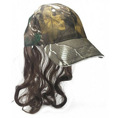 Baseball Cap with Hair Billy Ray Camo by Billy Bob Comedy Fancy Dress Adult