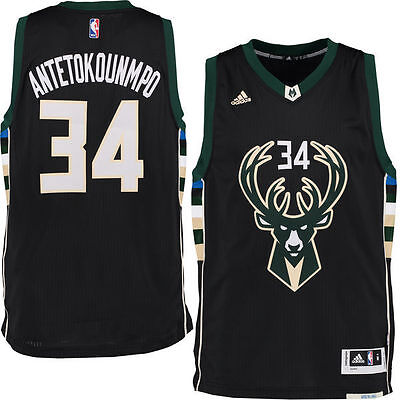 Giannis Antetokounmpo Jersey Milwaukee Bucks Black Alternate Swingman Men Ball
