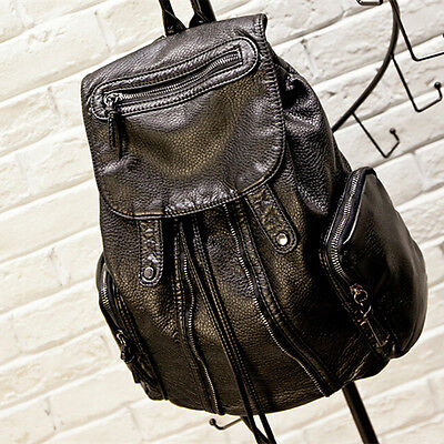 Women Leather Backpack Girls Travel Handbag Student Rucksack Shoulder Bag Black
