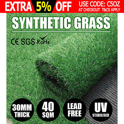 40 SQM Synthetic Turf Artificial Grass Plastic Plant Fake Lawn Flooring 30MM NEW