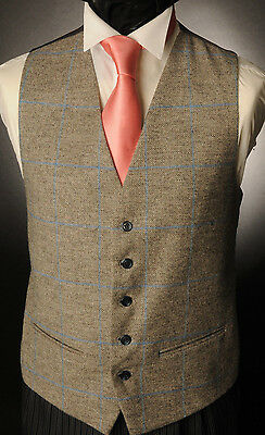 Wt-5 Mens/boys Grey With Blue Check Tweed Waistcoat Casual / Wedding /formal /