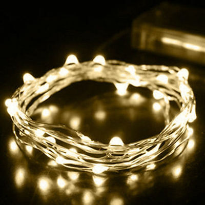 2M 20 LED Battery Warm white Mini LED Copper Wire String Fairy Light Xmas Party