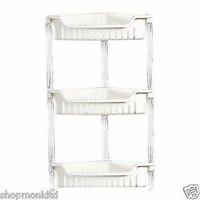 3 Tier Plastic Bathroom Corner Shelf Storage Caddy Shower Organiser Tidy Rack