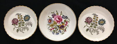 ♡ 1 Worcester + 2 Minton England Pin Dishes Floral With Gold Edges