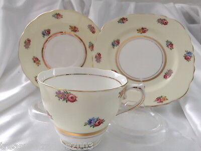 �� Trio Colclough Lemon Base Floral Hn2547 England Teacup Saucer Side Plate