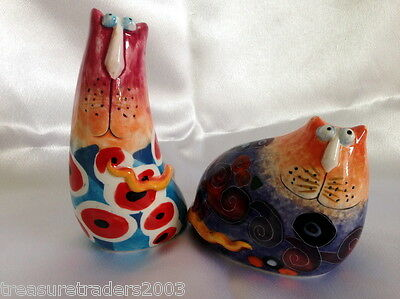 ♡ Salt & Pepper Shakers Funky Quirky Strange Shaped Cats Collectable