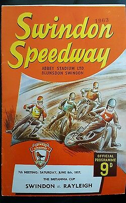 Speedway Programme - Swindon vs Rayleigh 08-06-1957 Brittania Cup