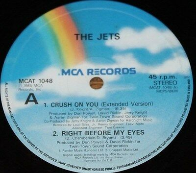 """THE JETS * CRUSH ON YOU * Classic Pop Soul Funk Boogie 12"""" Vinyl"""