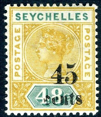 SEYCHELLES-1893 45c on 48c Ochre & Green Sg 20 MOUNTED MINT V14857