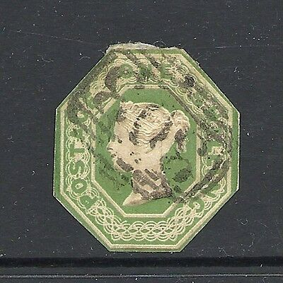1847 Queen Victoria SG55 1s Green Embossed Imperf. Used GREAT BRITAIN CV £800