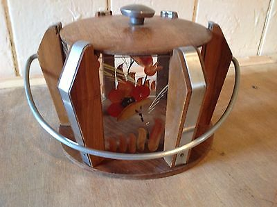 BEAUTIFUL 1950s VINTAGE RETRO WOOD & PAINTED GLASS BISCUIT BARREL