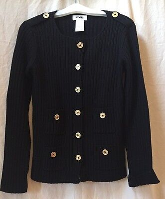 Sonia Rykiel Enfant 100% Wool Black Cardigan Sweater with Metal Buttons~Size 14