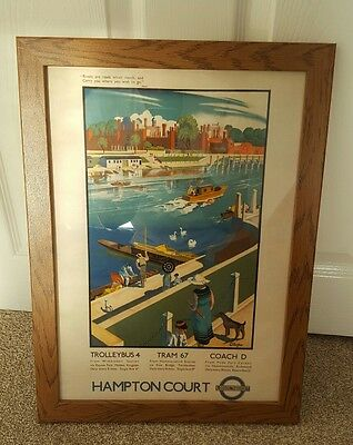 Hampton Court by Tram Poster old print framed A3 London Transport