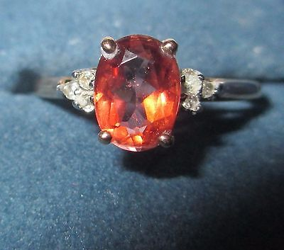 New Size 8 Citrine and Diamond Ring 10K Yellow Gold